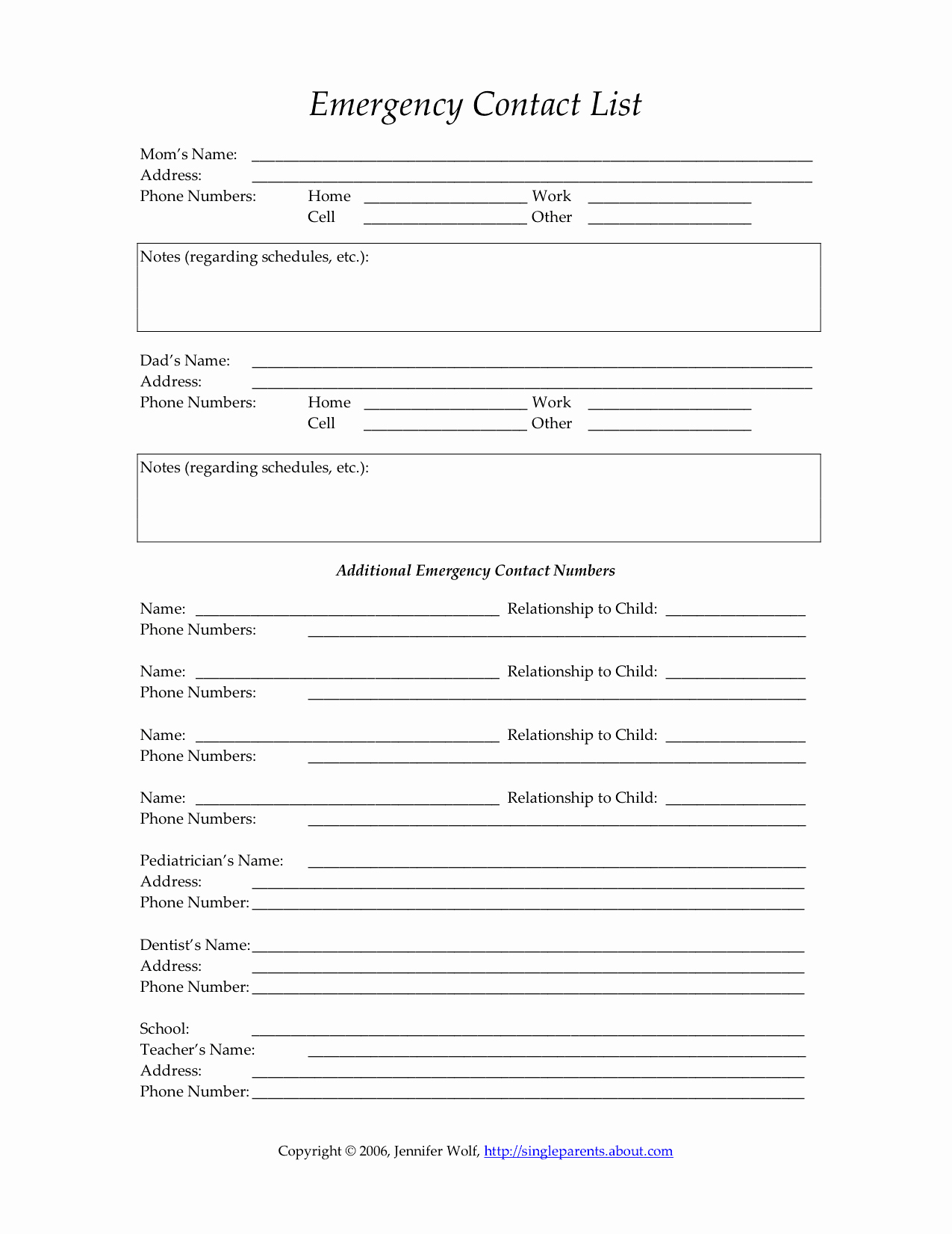 Emergency Contacts form Templates Awesome Child S Emergency Contact form
