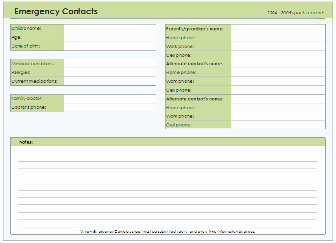 Emergency Contacts form Templates Awesome Emergency Contact form Template for Every Field