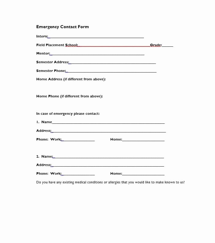 Emergency Contacts form Templates Beautiful 54 Free Emergency Contact forms [employee Student]