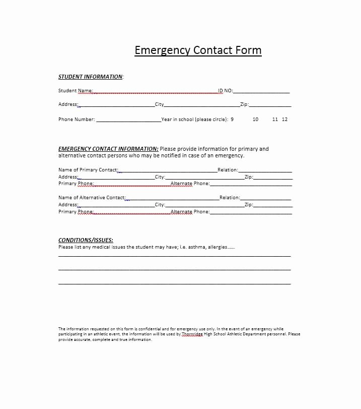 Emergency Contacts form Templates Best Of 54 Free Emergency Contact forms [employee Student]