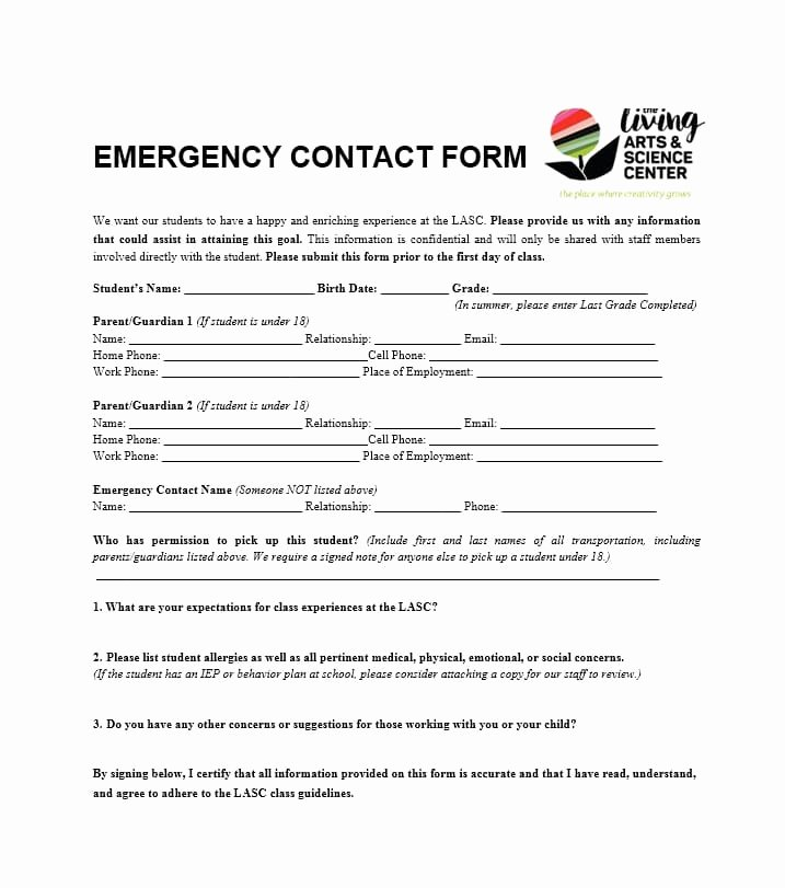 Emergency Contacts form Templates Elegant 54 Free Emergency Contact forms [employee Student]