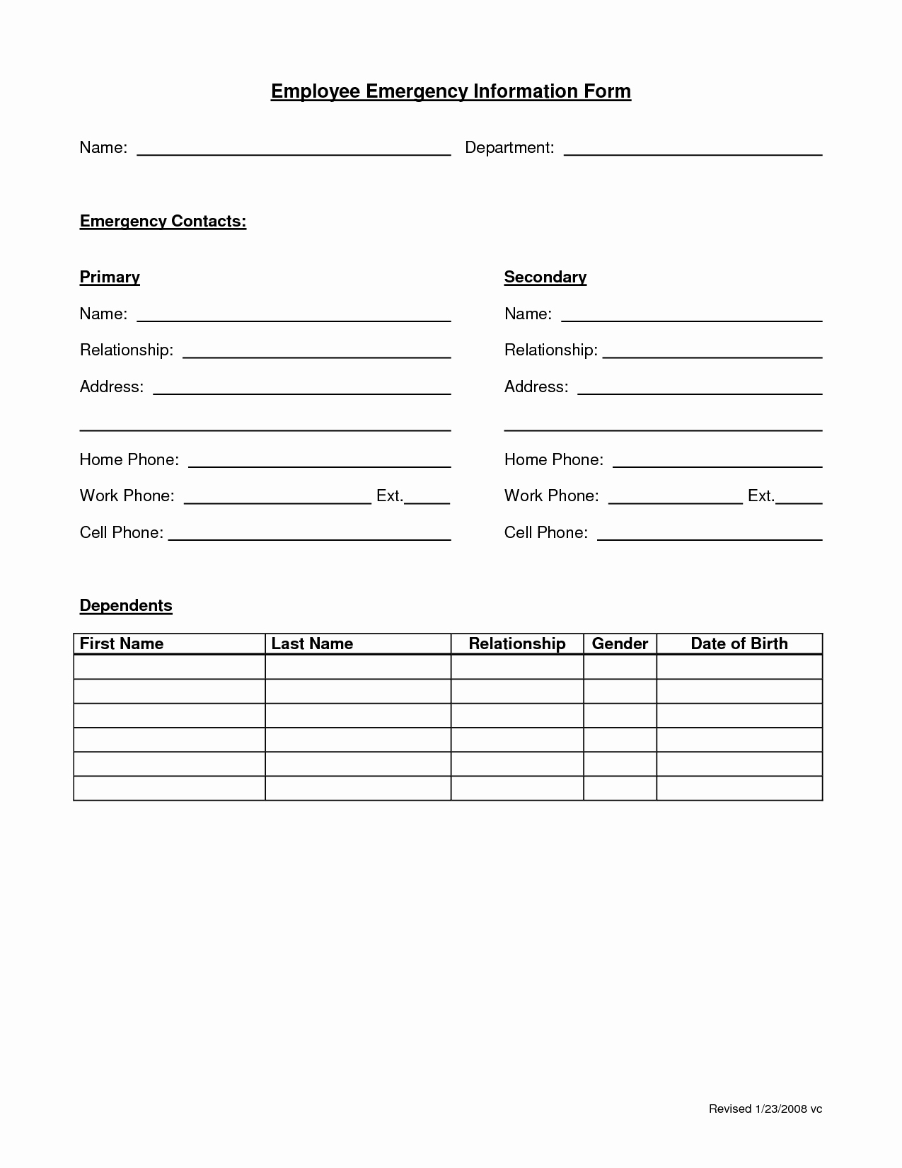 Emergency Contacts form Templates Fresh Employee Emergency form Employee forms