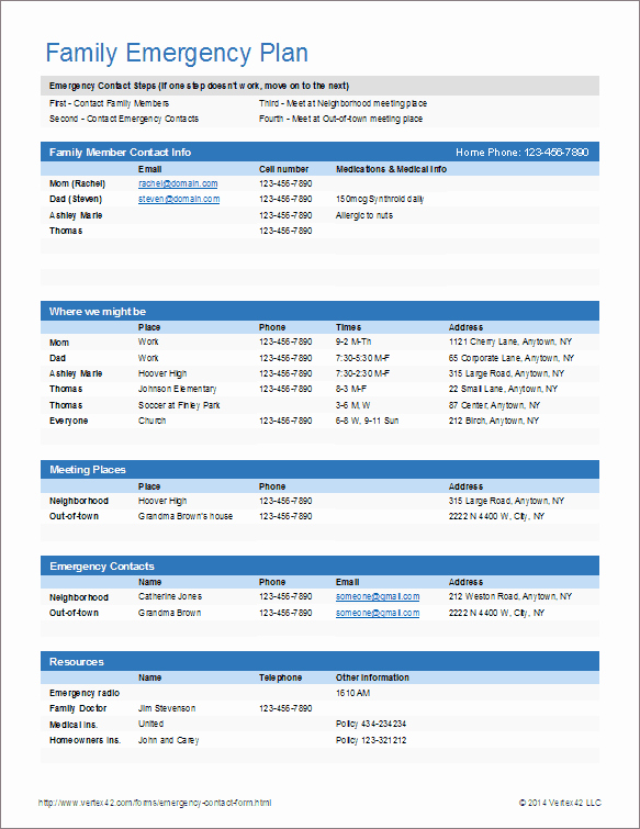 Emergency Contacts form Templates Lovely Download the Emergency Contact form From Vertex42