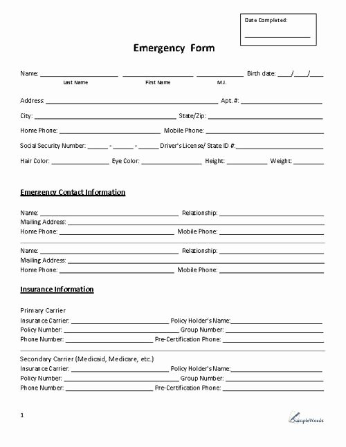 Emergency Contacts form Templates Lovely Emergency form Contact Business forms
