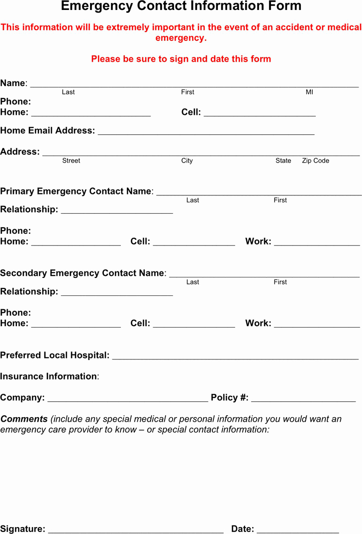 Emergency Contacts form Templates New Emergency Contact Template Free Template Download