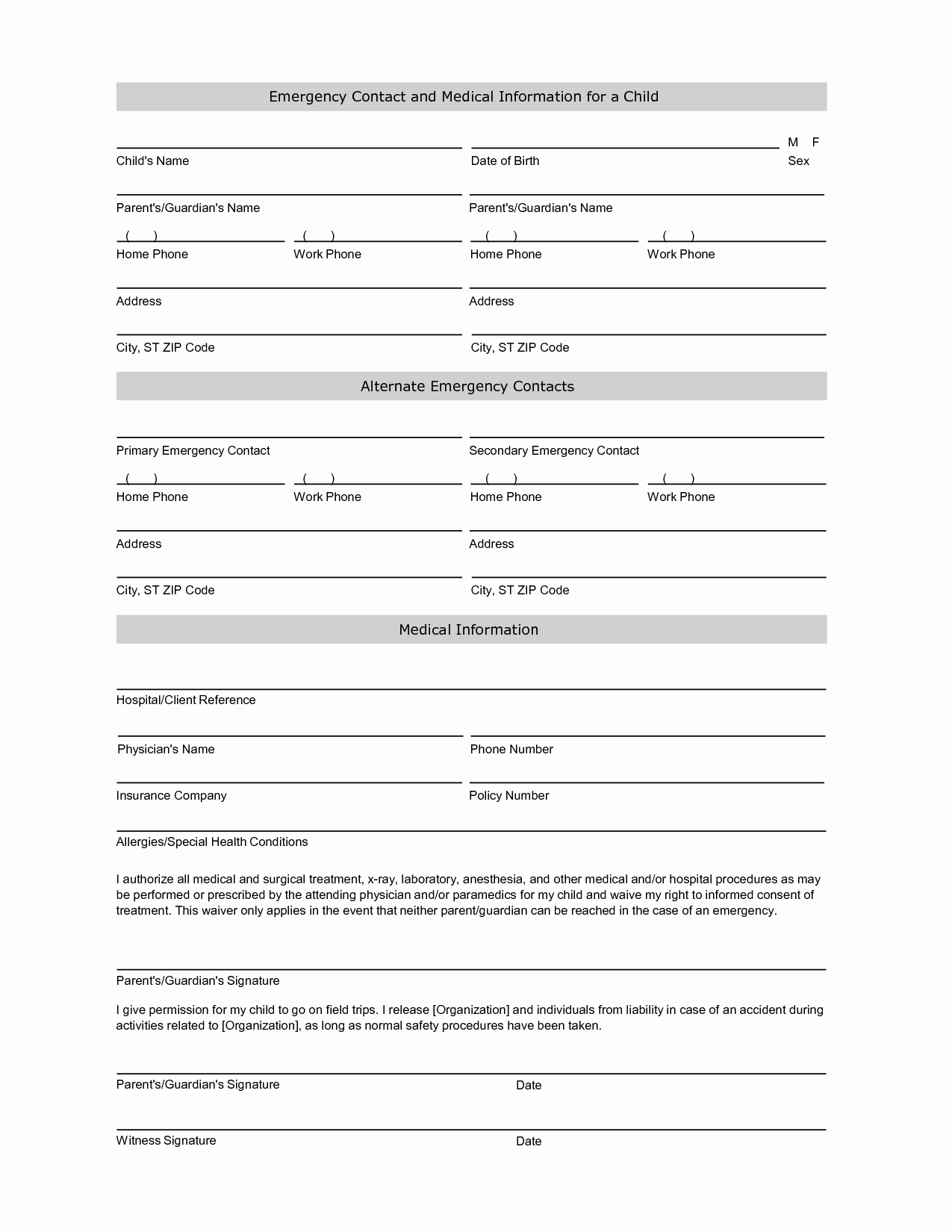 Emergency Contacts form Templates New Employee Emergency Contact Printable form to Pin