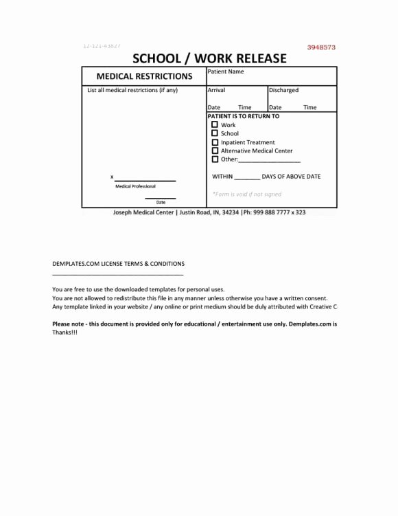 Emergency Room Doctor Note Template Fresh Doctors Note