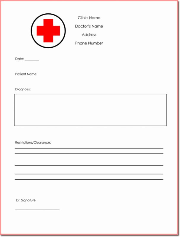 Emergency Room Doctor Note Template Lovely Fake Doctors Note Template