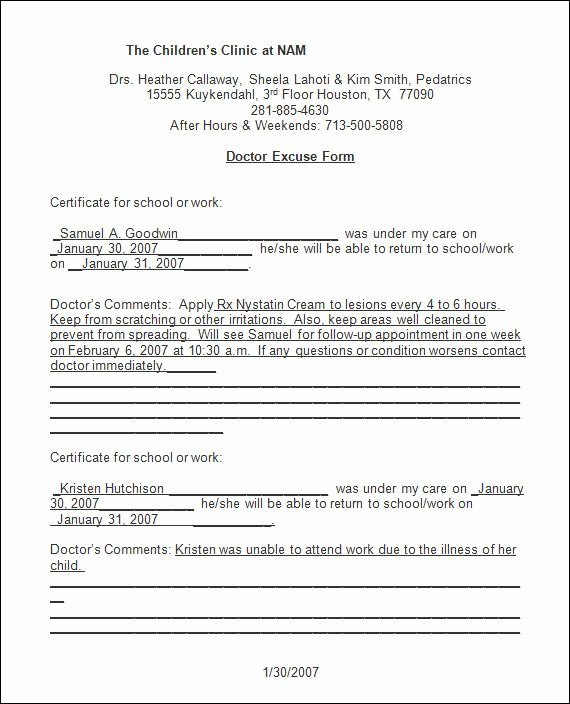Emergency Room Excuse Template Beautiful Sample Doctor Note 30 Free Documents In Pdf Word
