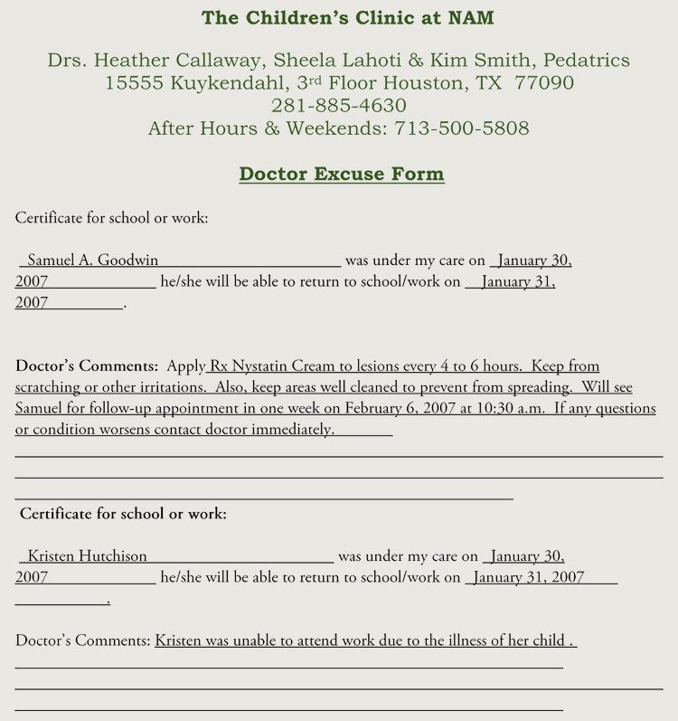 Emergency Room Excuse Template Elegant Fake Doctors Note Templates & Excuses