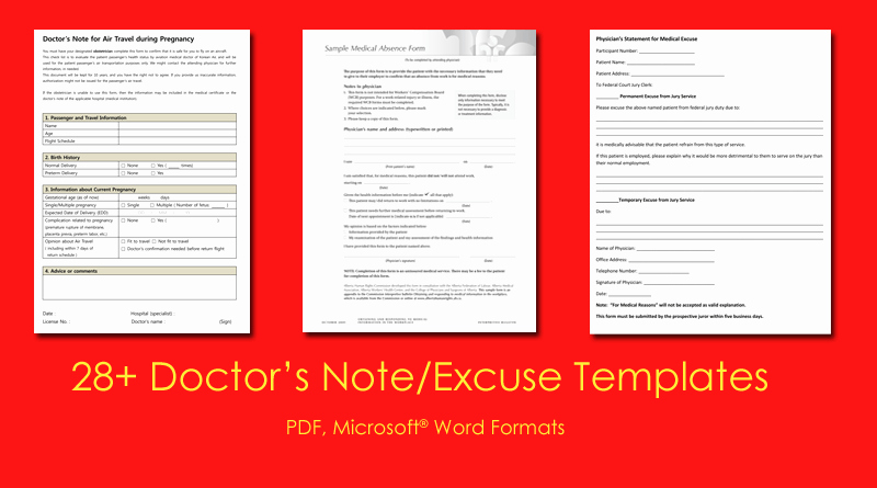 Emergency Room Excuse Template Lovely Doctor S Note Templates 28 Blank formats to Create
