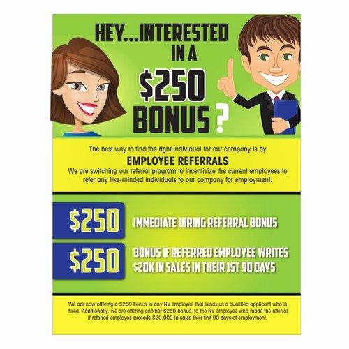 Employee Bonus Plan Template Awesome Employee Referral Program Flyer