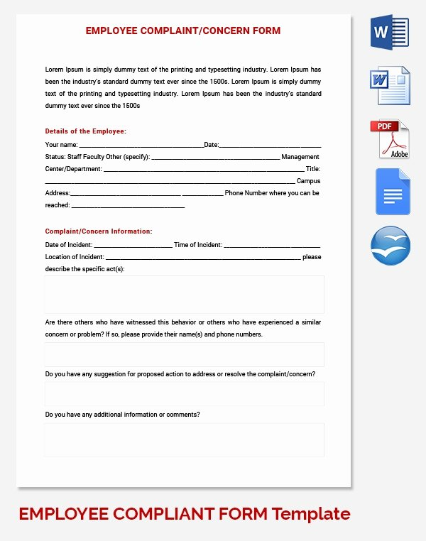 Employee Complaint form Template Beautiful 8 Free Hr forms & Template Freebies