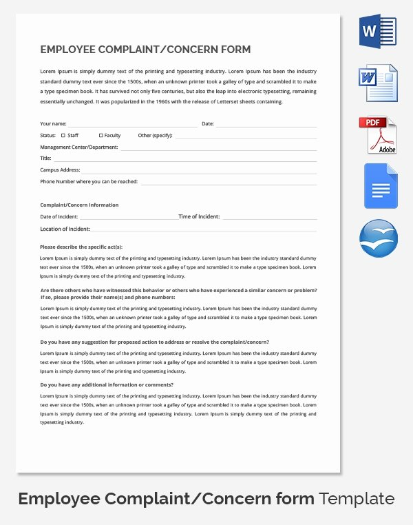 Employee Complaint form Template Best Of 29 Hr Plaint forms Free Sample Example format