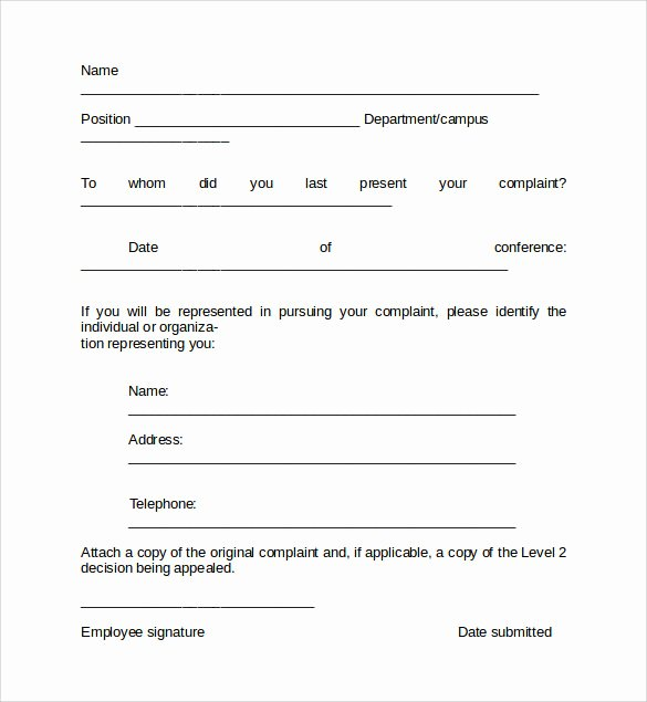 Employee Complaint form Template Fresh Availability form Template