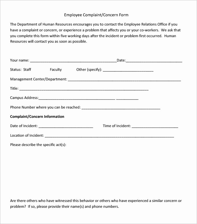 Employee Complaint form Template Inspirational 23 Hr Plaint forms Free Sample Example format