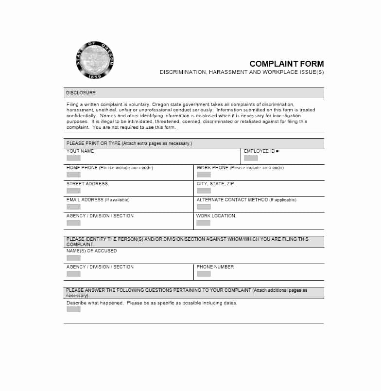 Employee Complaint form Template Inspirational 49 Employee Plaint form & Letter Templates Template
