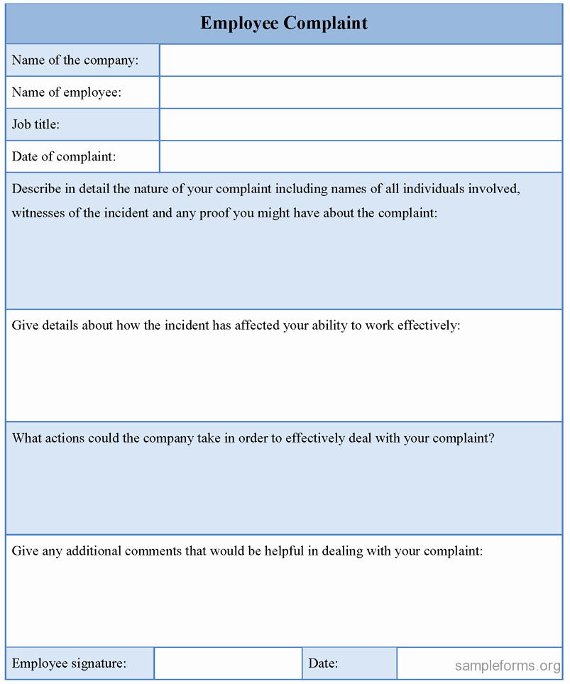 Employee Complaint form Template Inspirational Employee Plaint form Template Sample forms