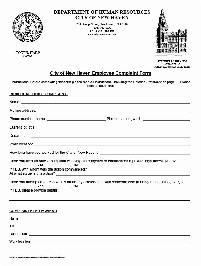Employee Complaint form Template Lovely 23 Hr Plaint forms Free Sample Example format