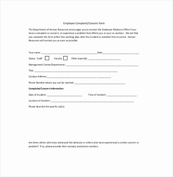 Employee Complaint form Template Lovely Hr Plaint Letter – 10 Free Word Pdf Documents
