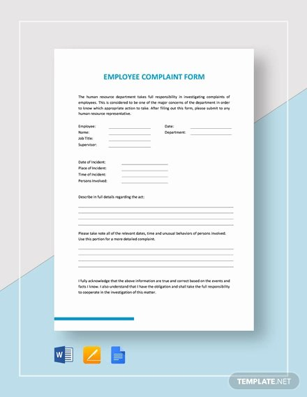 Employee Complaint form Template Luxury 136 Free Hr forms Word Pdf Excel Google Docs