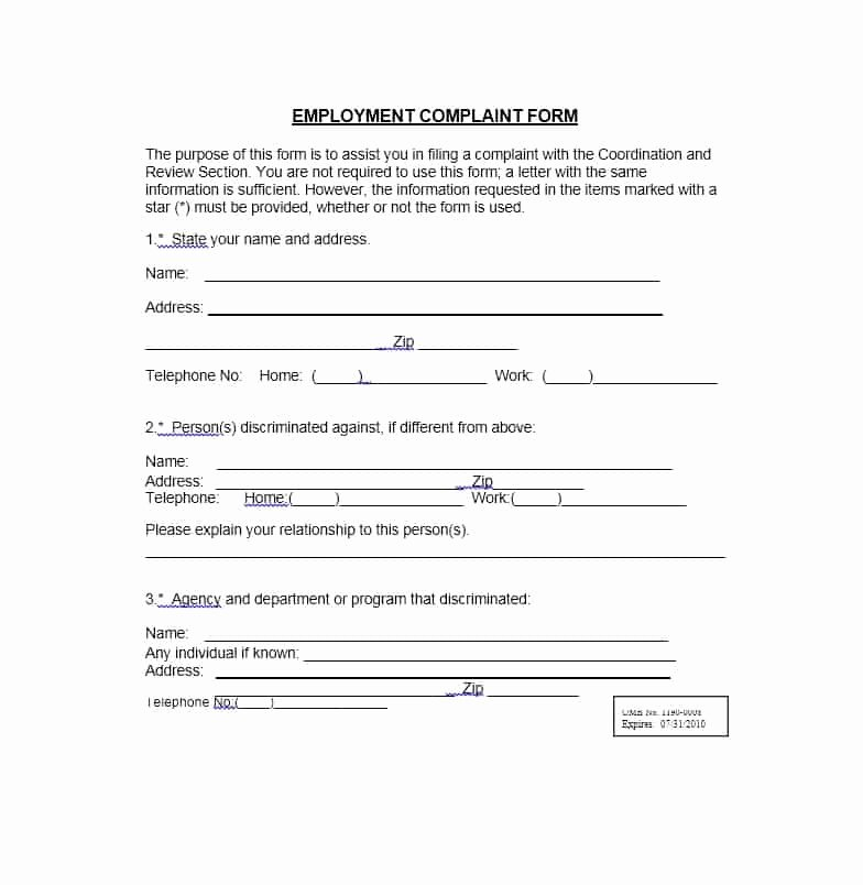 Employee Complaint form Template Unique 49 Employee Plaint form & Letter Templates Template