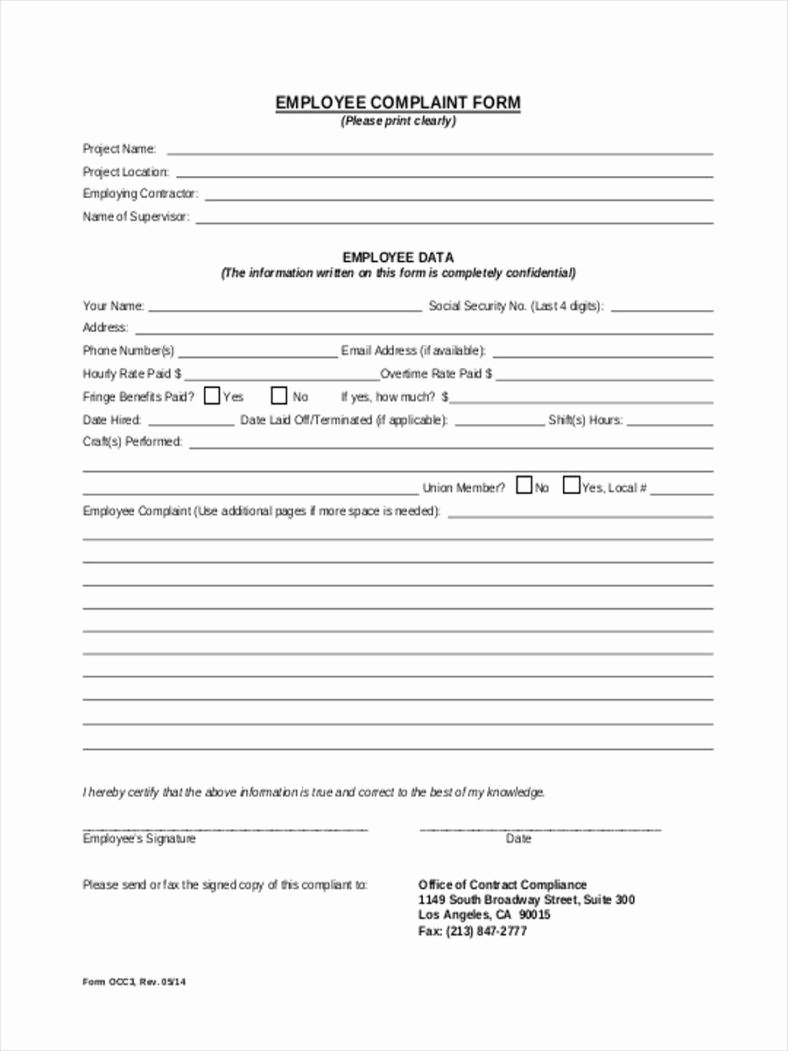 Employee Complaint form Template Unique 9 Employee Plaint forms Free Pdf Doc format