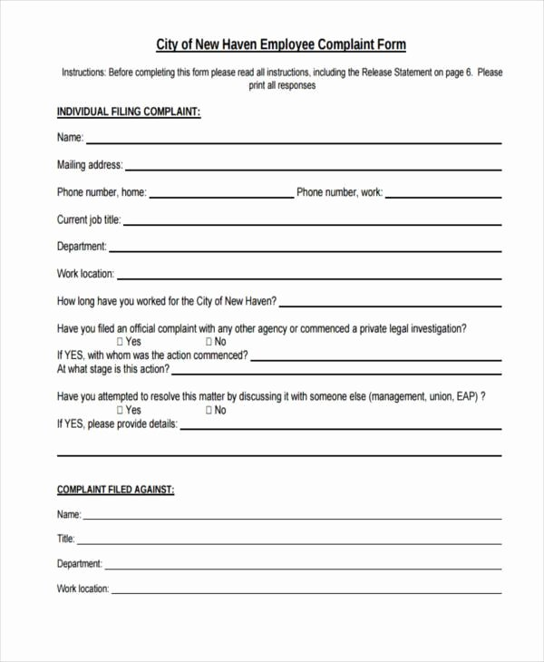 Employee Complaint form Template Unique Free 8 Sample Plaint Investigation forms In Pdf