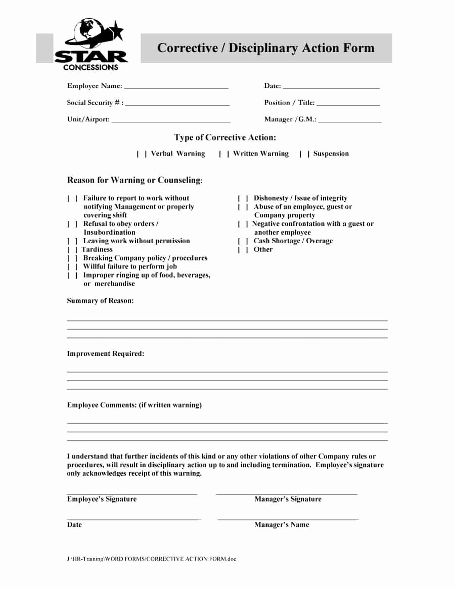 Employee Corrective Action Plan Template Beautiful 46 Effective Employee Write Up forms [ Disciplinary