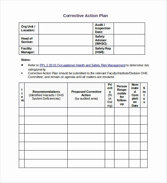 Employee Corrective Action Plan Template Beautiful Sample Corrective Action Plan Template 14 Documents In