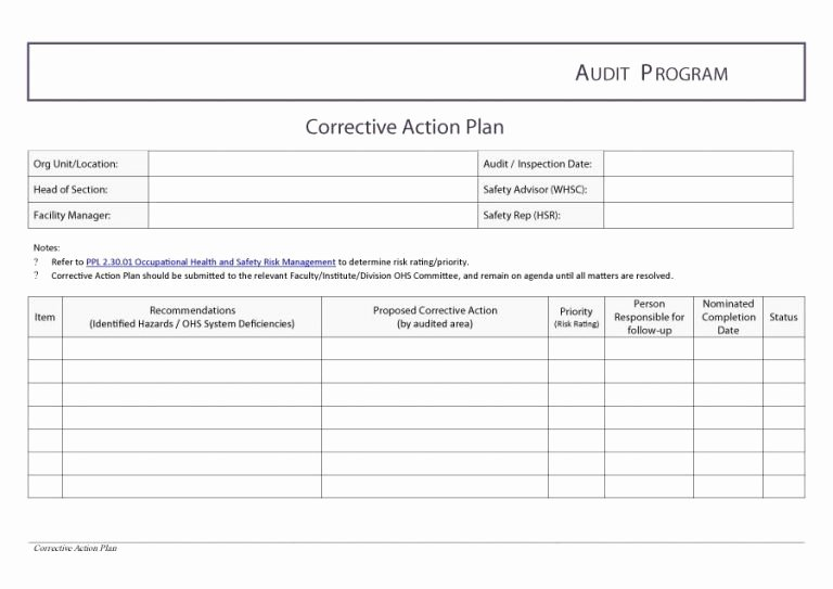 Employee Corrective Action Plan Template Fresh Corrective Action Plan Template