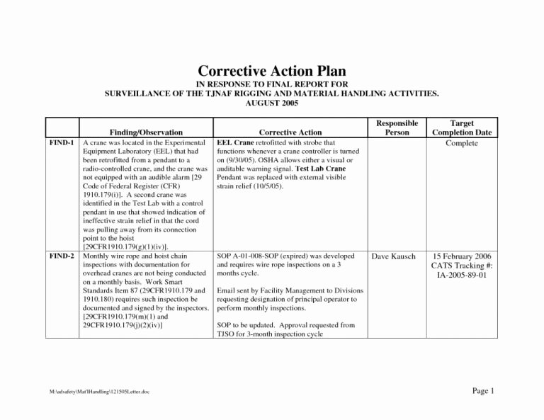 Employee Corrective Action Plan Template Lovely Corrective Action Plan