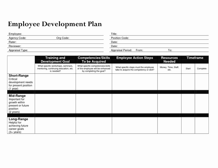 Employee Development Plan Template Elegant Individual Development Plan for Employees – Business form