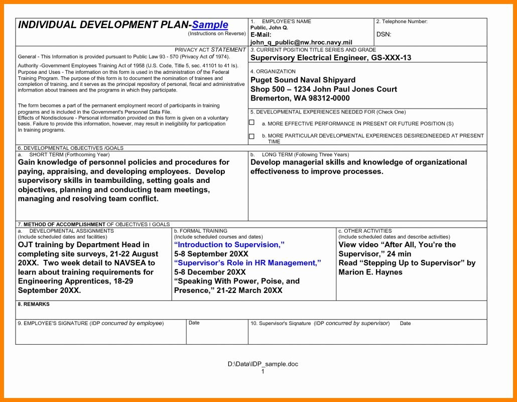 Employee Development Plan Template Fresh Employee Development Plan Template
