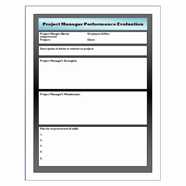 Employee Evaluation form Template Awesome Sample Performance Evaluation for Project Manager Use
