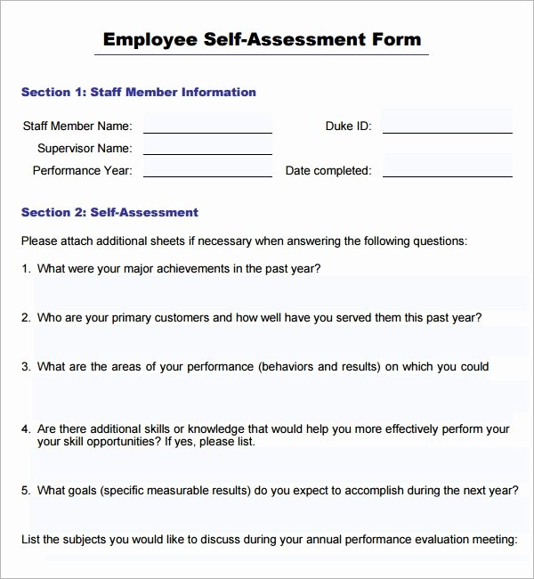 Employee Evaluation form Template Best Of Sample Employee Self Evaluation form 16 Free Documents