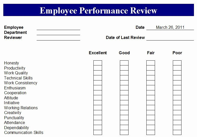 Employee Evaluation form Template Elegant Free Employee Evaluation forms Printable Google Search