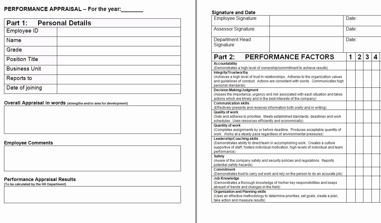 Employee Evaluation form Template Fresh Performance Appraisal form Template