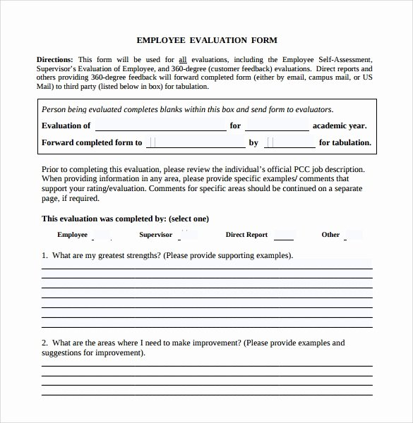 Employee Evaluation form Template New Employee Evaluation form Sample – 13 Free Examples format