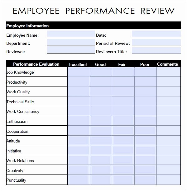 Employee Evaluation form Templates Awesome Free 9 Sample Performance Evaluation Templates In Pdf