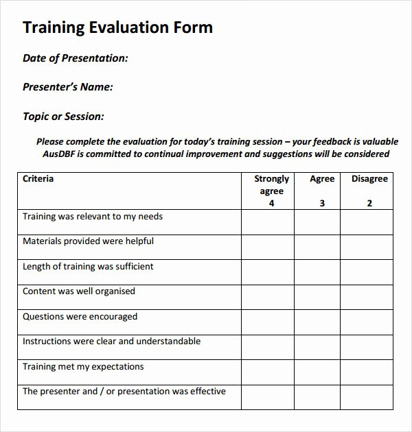 Employee Evaluation form Templates Best Of Free 15 Sample Training Evaluation forms In Pdf