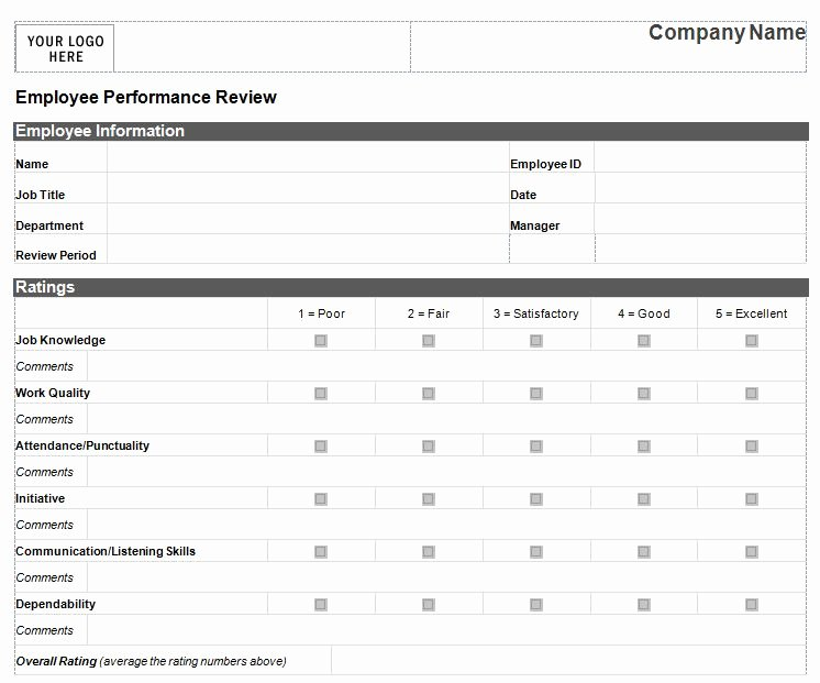 Employee Evaluation form Templates Fresh Performance Review Template for Managers