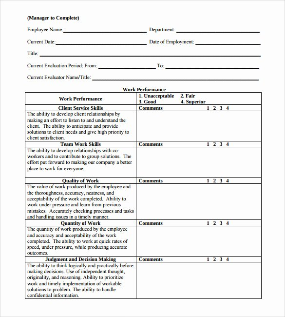 Employee Evaluation form Templates Unique Employee Review forms 5 Download Free Documents In Pdf