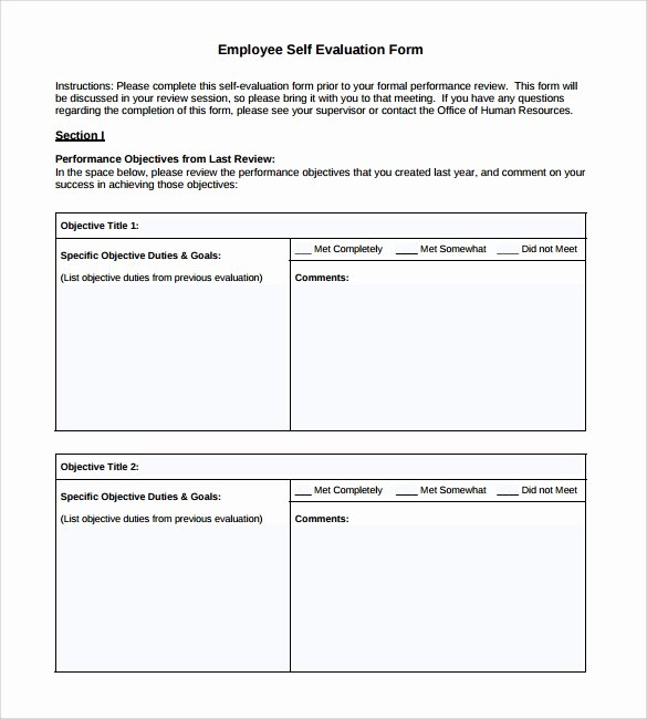Employee Evaluation forms Templates Lovely Sample Employee Self Evaluation form 8 Free Documents