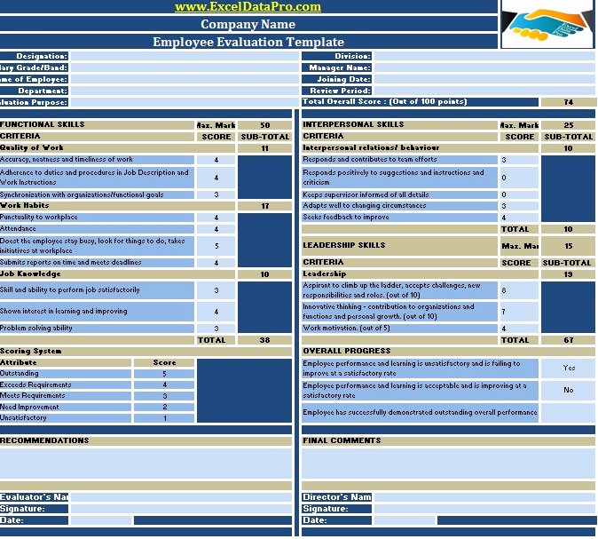 Employee Evaluation forms Templates New Download Employee Performance Evaluation Excel Template