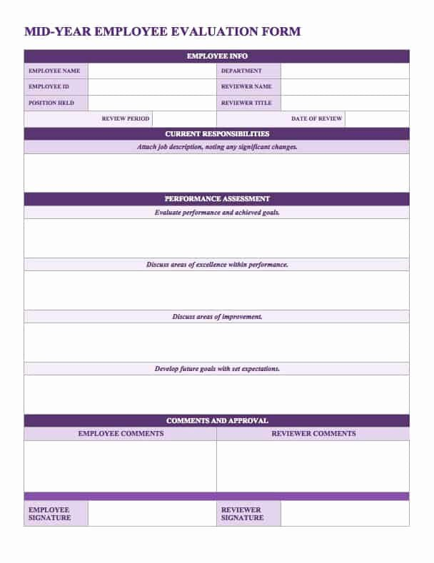 Employee Evaluation forms Templates Unique Free Employee Performance Review Templates