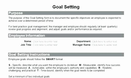 Employee Goal Setting Template Beautiful Performance Goals Template