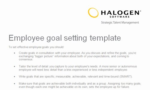 Employee Goal Setting Template Best Of Employee Goal Setting Template