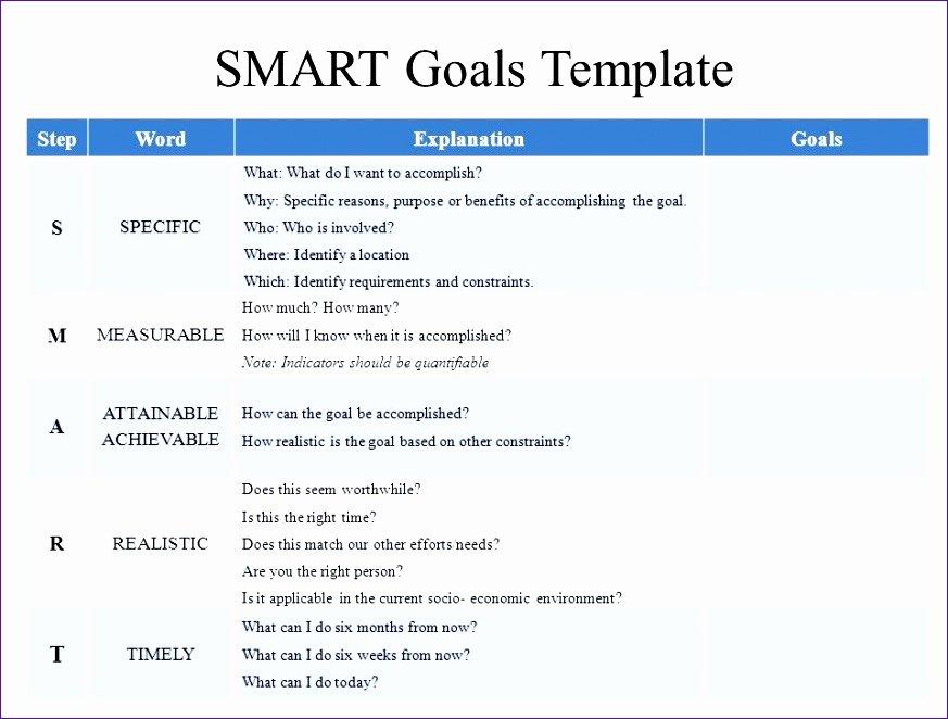 Employee Goal Setting Template Elegant 9 Goal Setting Excel Template Exceltemplates