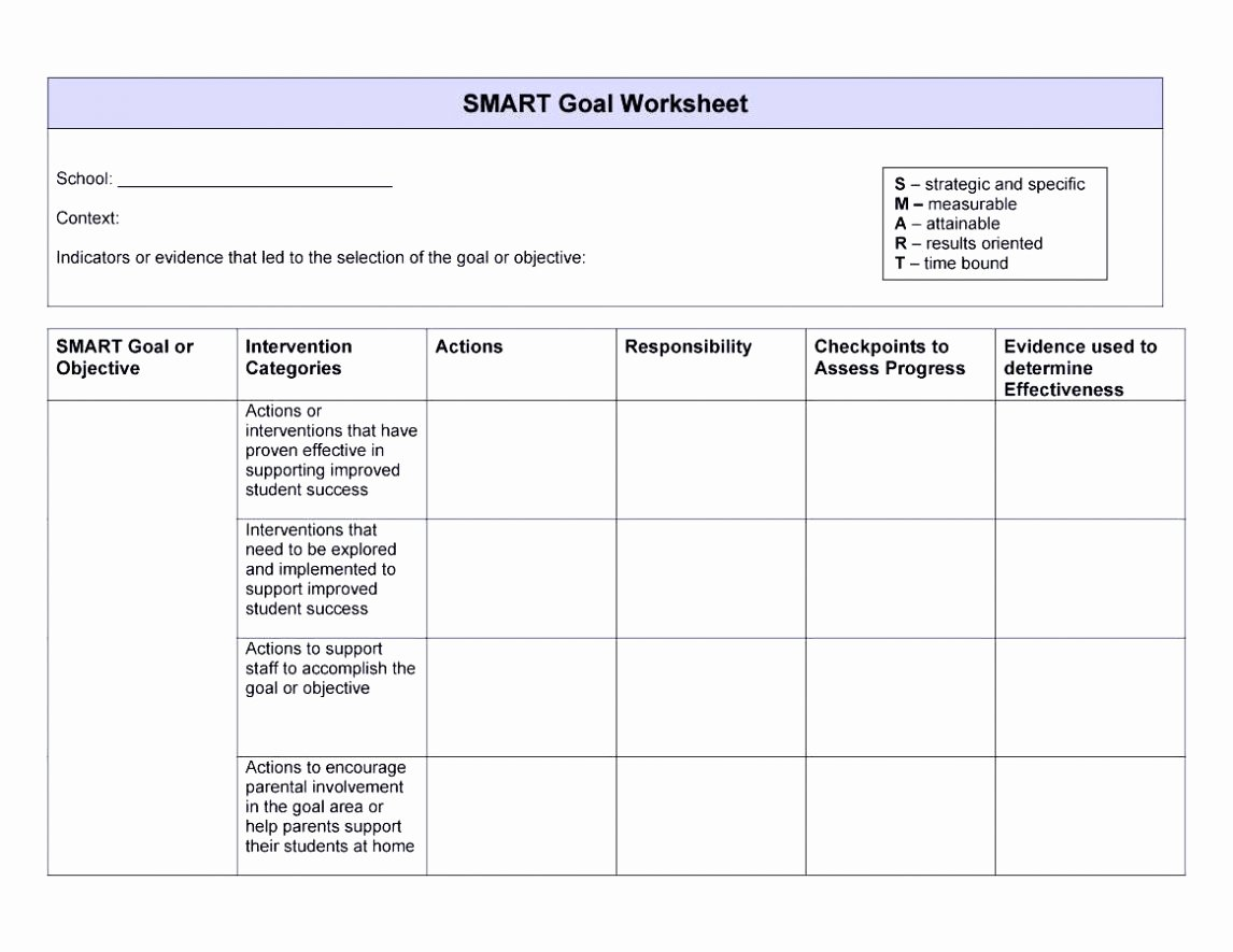 Employee Goal Setting Template Lovely Smart Goals Template Examples Worksheets